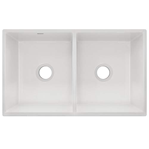 Elkay SWUF32189WH Fireclay Equal Double Bowl Farmhouse Sink White 0 0