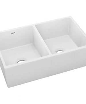 Elkay SWUF32189WH Fireclay Equal Double Bowl Farmhouse Sink White 0 1 300x360