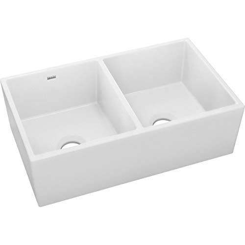Elkay SWUF32189WH Fireclay Equal Double Bowl Farmhouse Sink White 0 1