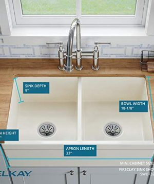 Elkay SWUF32189WH Fireclay Equal Double Bowl Farmhouse Sink White 0 2 300x360
