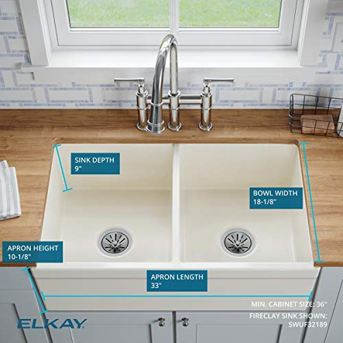 Elkay SWUF32189WH Fireclay Equal Double Bowl Farmhouse Sink White 0 2