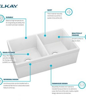 Elkay SWUF32189WH Fireclay Equal Double Bowl Farmhouse Sink White 0 3 300x360