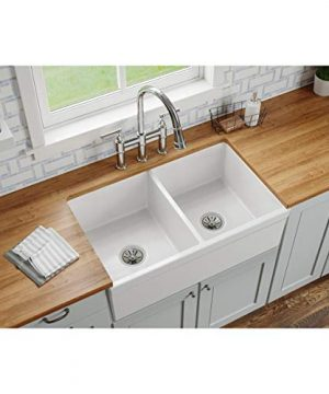 Elkay SWUF32189WH Fireclay Equal Double Bowl Farmhouse Sink White 0 300x360