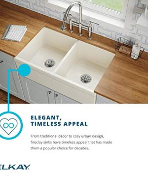 Elkay SWUF32189WH Fireclay Equal Double Bowl Farmhouse Sink White 0 4 300x360