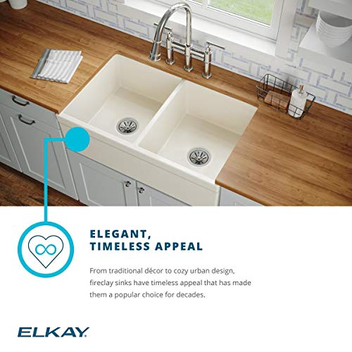Elkay SWUF32189WH Fireclay Equal Double Bowl Farmhouse Sink White 0 4