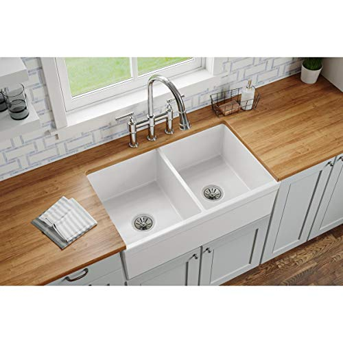 Elkay SWUF32189WH Fireclay Equal Double Bowl Farmhouse Sink White 0