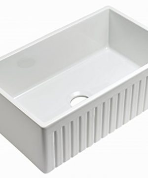 Empire Industries SP30SG Sutton Place Reversible Farmhouse Fireclay Kitchen Sink With Grid And Strainer 30 W White 0 0 300x360