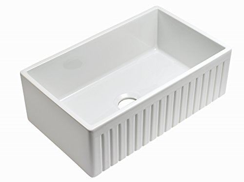 Empire Industries SP30SG Sutton Place Reversible Farmhouse Fireclay Kitchen Sink With Grid And Strainer 30 W White 0 0