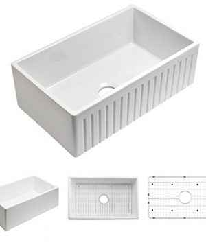 Empire Industries SP30SG Sutton Place Reversible Farmhouse Fireclay Kitchen Sink With Grid And Strainer 30 W White 0 300x360