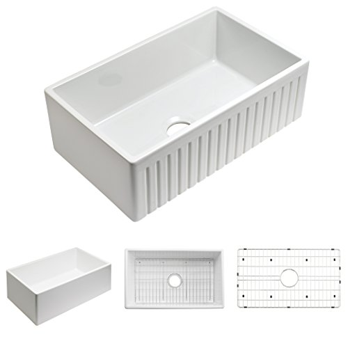 Empire Industries SP30SG Sutton Place Reversible Farmhouse Fireclay Kitchen Sink With Grid And Strainer 30 W White 0