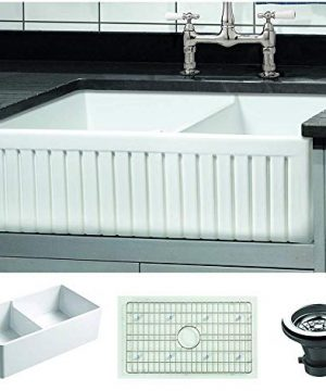 Empire Industries SP33DG Sutton Place Farmhouse Fireclay With Grid And Strainer Kitchen Sink 33 White 0 300x360