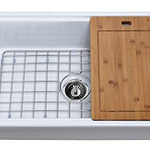 Empire Industries TO30 Tosca Reversible Farmhouse Fireclay Kitchen Sink With Cutting Board Grid And Strainer 30 White 0 300x305