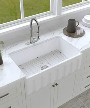 Enbol Farmhouse Sink Apron Front Kitchen Porcelain Dual Mount Single Bowl 33 Inch Kitchen Sink White With Protective Bottom Grid And Strainer PA3320 0 0 300x360