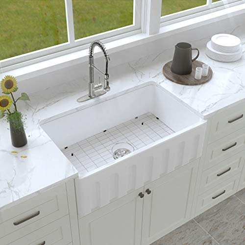 Enbol Farmhouse Sink Apron Front Kitchen Porcelain Dual Mount Single Bowl 33 Inch Kitchen Sink White With Protective Bottom Grid And Strainer PA3320 0 0