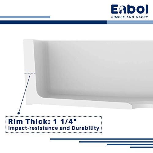 Enbol Farmhouse Sink Apron Front Kitchen Porcelain Dual Mount Single Bowl 33 Inch Kitchen Sink White With Protective Bottom Grid And Strainer PA3320 0 3