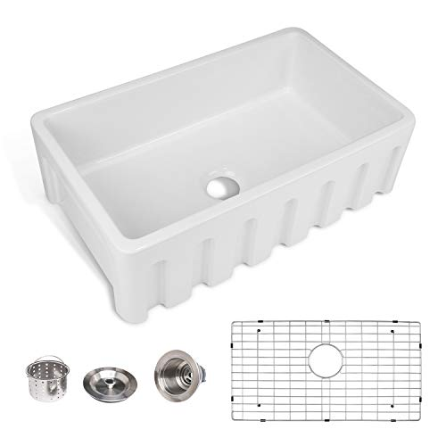 Enbol Farmhouse Sink Apron Front Kitchen Porcelain Dual Mount Single Bowl 33 Inch Kitchen Sink White With Protective Bottom Grid And Strainer PA3320 0