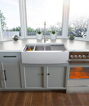 Farmhouse Sink 33 Kichae 33 Inch Stainless Steel 18 Gauge Low Divided Double Bowl 5050 Apron Front Workstation Farm Kitchen Sink 0 0 300x360
