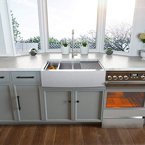 Farmhouse Sink 33 Kichae 33 Inch Stainless Steel 18 Gauge Low Divided Double Bowl 5050 Apron Front Workstation Farm Kitchen Sink 0 0