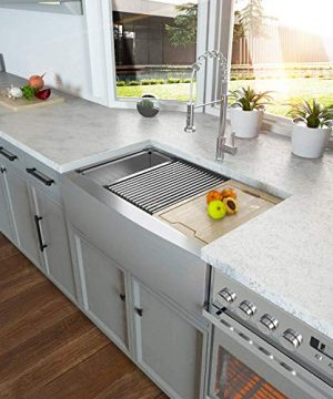 Farmhouse Sink 33 Kichae 33 Inch Stainless Steel 18 Gauge Low Divided Double Bowl 5050 Apron Front Workstation Farm Kitchen Sink 0 1 300x360
