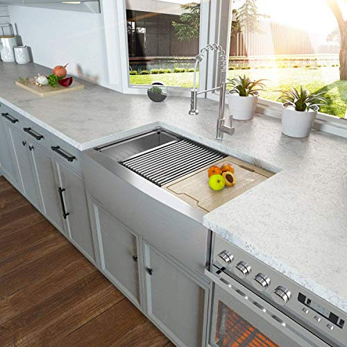 Farmhouse Sink 33 Kichae 33 Inch Stainless Steel 18 Gauge Low Divided Double Bowl 5050 Apron Front Workstation Farm Kitchen Sink 0 1