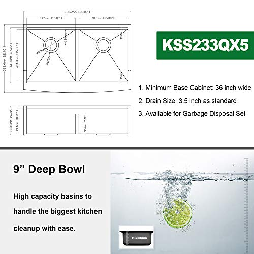 Farmhouse Sink 33 Kichae 33 Inch Stainless Steel 18 Gauge Low Divided Double Bowl 5050 Apron Front Workstation Farm Kitchen Sink 0 2