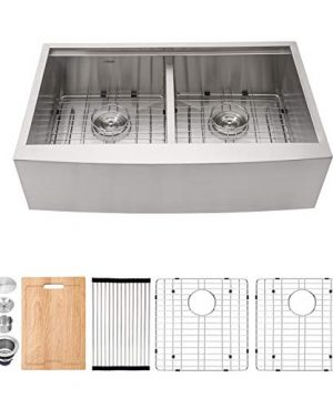 Farmhouse Sink 33 Kichae 33 Inch Stainless Steel 18 Gauge Low Divided Double Bowl 5050 Apron Front Workstation Farm Kitchen Sink 0 300x360