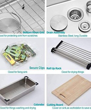 Farmhouse Sink 33 Kichae 33 Inch Stainless Steel 18 Gauge Low Divided Double Bowl 5050 Apron Front Workstation Farm Kitchen Sink 0 4 300x360