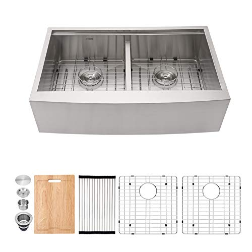 Farmhouse Sink 33 Kichae 33 Inch Stainless Steel 18 Gauge Low Divided Double Bowl 5050 Apron Front Workstation Farm Kitchen Sink 0