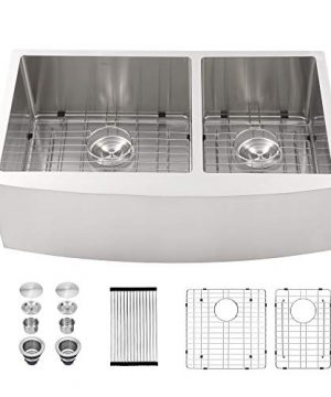 Farmhouse Sink Double Bowl 6040 Mocoloo 33x21 Inch 16 Gauge Stainless Steel Undermount Apron Front Farm Kitchen Sink With 10 Deep Basin Offset Drain 0 300x360