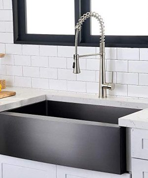Hotis Modern Single Bowl 33 Inch Apron Front Black Stainless Steel Farmhouse Kitchen SinkUndermount Black Curved Sink With Accessories 0 0 300x360
