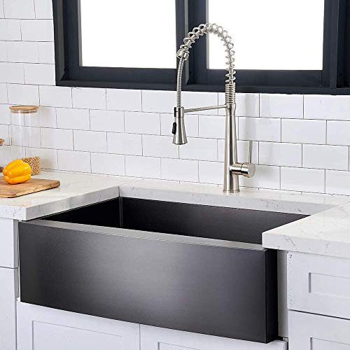 Hotis Modern Single Bowl 33 Inch Apron Front Black Stainless Steel Farmhouse Kitchen SinkUndermount Black Curved Sink With Accessories 0 0