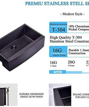 Hotis Modern Single Bowl 33 Inch Apron Front Black Stainless Steel Farmhouse Kitchen SinkUndermount Black Curved Sink With Accessories 0 1 300x360