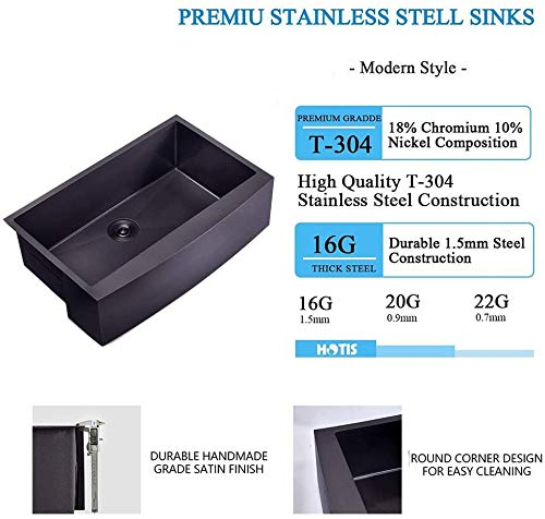 Hotis Modern Single Bowl 33 Inch Apron Front Black Stainless Steel Farmhouse Kitchen SinkUndermount Black Curved Sink With Accessories 0 1