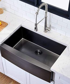 Hotis Modern Single Bowl 33 Inch Apron Front Black Stainless Steel Farmhouse Kitchen SinkUndermount Black Curved Sink With Accessories 0 300x360