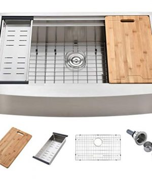 KINGO HOME 33 Inch 18 Gauge Handmade Stainless Steel Single Bowl Drop In Farmhouse Sink Workstation Farm Kitchen Sink With Integrated Ledge And Accessories 0 300x360