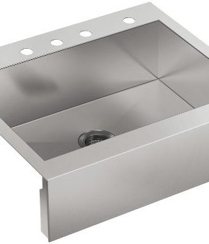 KOHLER 3935 4 NA Top Mount Single Bowl Stainless Steel Kitchen Sink With Farmhouse Tall Apron 30 In Cabinet Base Width 0 300x350