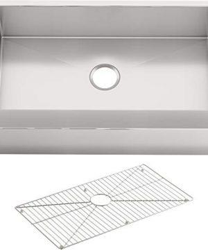 KOHLER K 5415 NA Strive Self Trimming Farmhouse Undermount Large Single Bowl Kitchen Sink With Tall Apron 35 12 X 21 14 Stainless Steel 0 300x360