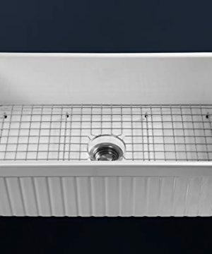 LUXURY 33 Inch Modern Farmhouse Ultra Fine Fireclay Kitchen Sink In White Single Bowl Fluted Front Includes Grid And Drain FSW1007 By Fossil Blu 0 1 300x360