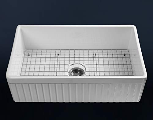 LUXURY 33 Inch Modern Farmhouse Ultra Fine Fireclay Kitchen Sink In White Single Bowl Fluted Front Includes Grid And Drain FSW1007 By Fossil Blu 0 1