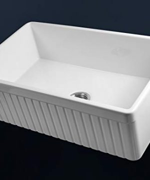 LUXURY 33 Inch Modern Farmhouse Ultra Fine Fireclay Kitchen Sink In White Single Bowl Fluted Front Includes Grid And Drain FSW1007 By Fossil Blu 0 2 300x360