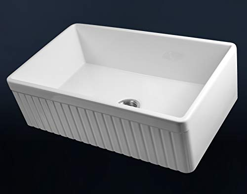 LUXURY 33 Inch Modern Farmhouse Ultra Fine Fireclay Kitchen Sink In White Single Bowl Fluted Front Includes Grid And Drain FSW1007 By Fossil Blu 0 2