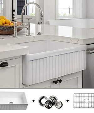 LUXURY 33 Inch Modern Farmhouse Ultra Fine Fireclay Kitchen Sink In White Single Bowl Fluted Front Includes Grid And Drain FSW1007 By Fossil Blu 0 300x360