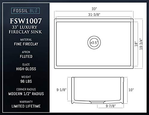 LUXURY 33 Inch Modern Farmhouse Ultra Fine Fireclay Kitchen Sink In White Single Bowl Fluted Front Includes Grid And Drain FSW1007 By Fossil Blu 0 4