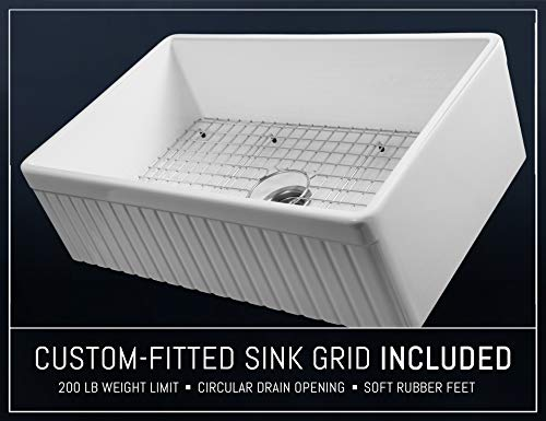LUXURY 33 Inch Modern Farmhouse Ultra Fine Fireclay Kitchen Sink In White Single Bowl Fluted Front Includes Grid And Drain FSW1007 By Fossil Blu 0 5