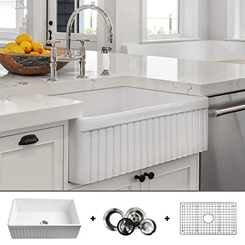 LUXURY 33 Inch Modern Farmhouse Ultra Fine Fireclay Kitchen Sink In White Single Bowl Fluted Front Includes Grid And Drain FSW1007 By Fossil Blu 0