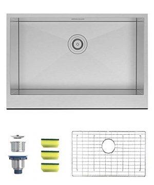 MENSARJOR 30 X 20 Inches Apron Farmhouse Single Bowl 16 Gauge Stainless Steel Kitchen Sink 30 X 20 X 10 0 0 300x360