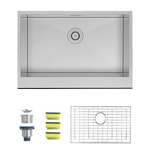 MENSARJOR 30 X 20 Inches Apron Farmhouse Single Bowl 16 Gauge Stainless Steel Kitchen Sink 30 X 20 X 10 0 0