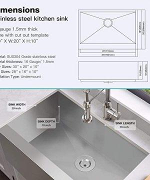 MENSARJOR 30 X 20 Inches Apron Farmhouse Single Bowl 16 Gauge Stainless Steel Kitchen Sink 30 X 20 X 10 0 1 300x360