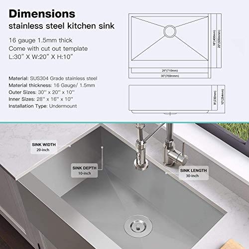 MENSARJOR 30 X 20 Inches Apron Farmhouse Single Bowl 16 Gauge Stainless Steel Kitchen Sink 30 X 20 X 10 0 1