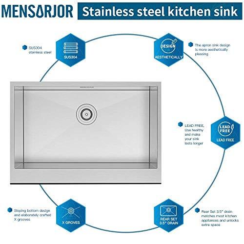 MENSARJOR 30 X 20 Inches Apron Farmhouse Single Bowl 16 Gauge Stainless Steel Kitchen Sink 30 X 20 X 10 0 3